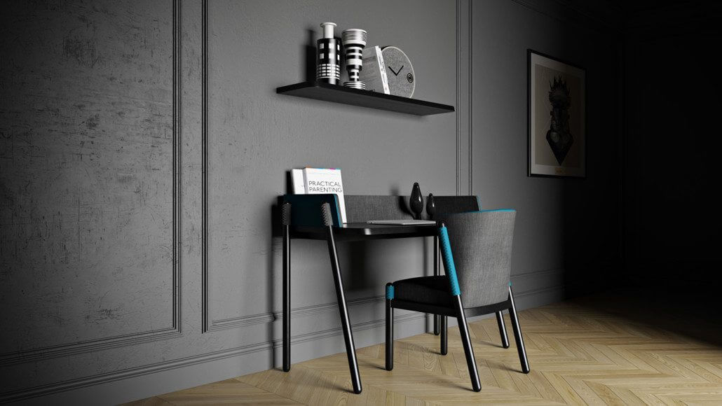 Product Design Modeling And Rendering: A Chair With Desk By The Wall