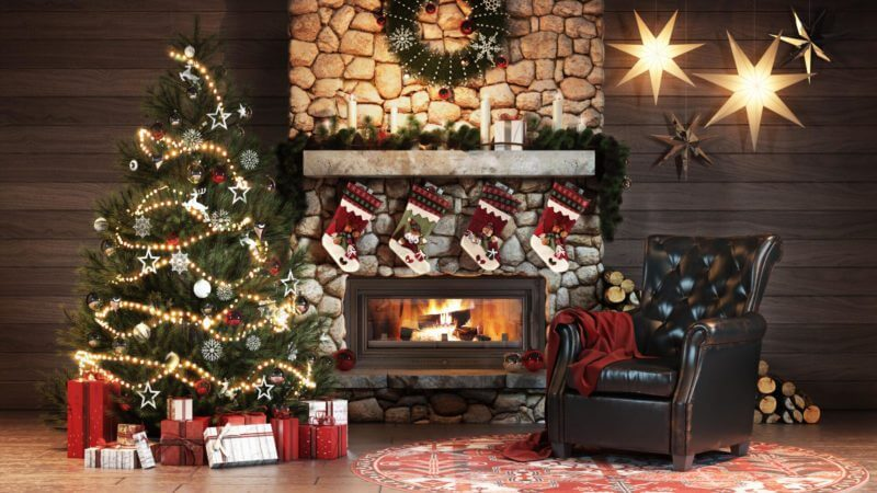 Product Design Modeling And Rendering For Christmas Ads: Leather Chair By A Fireplace
