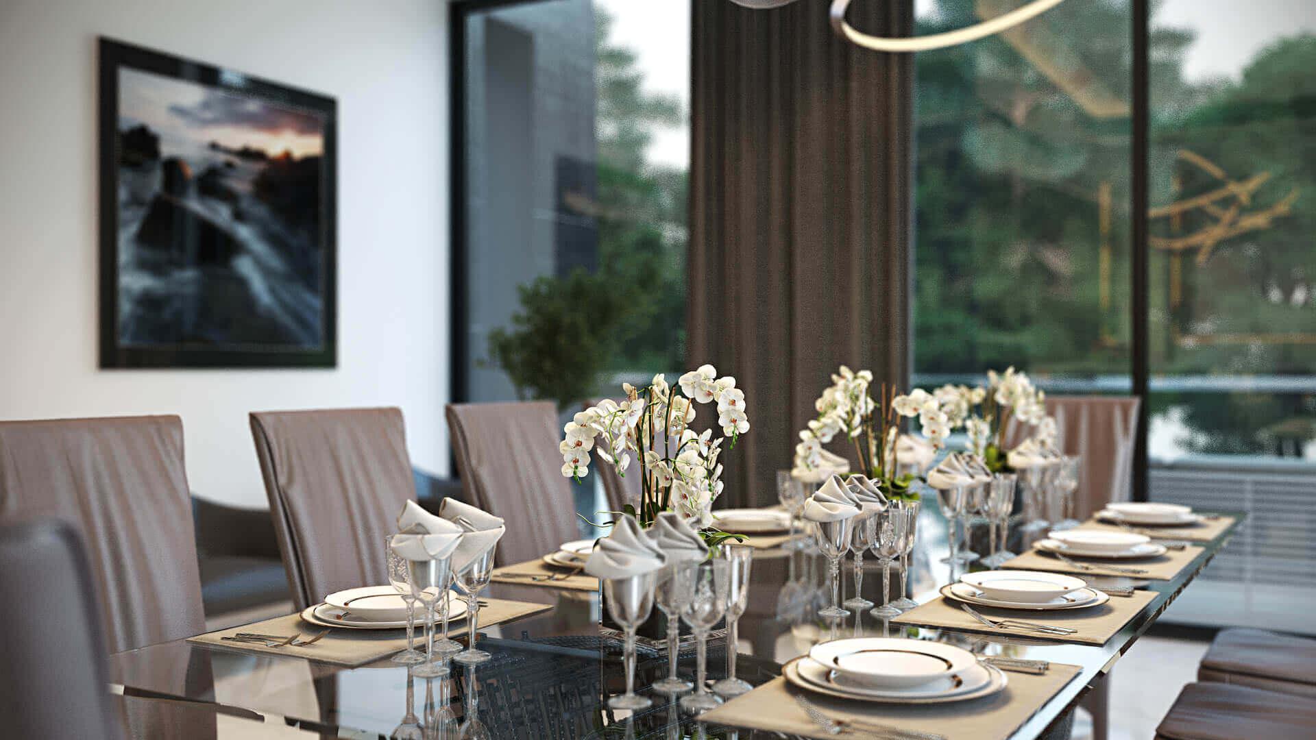 3D Interior Design of a Dining Room for a Portfolio