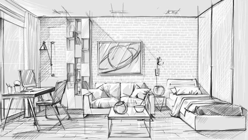 Interior design presentation the best tools archicgi for Interior design sketches