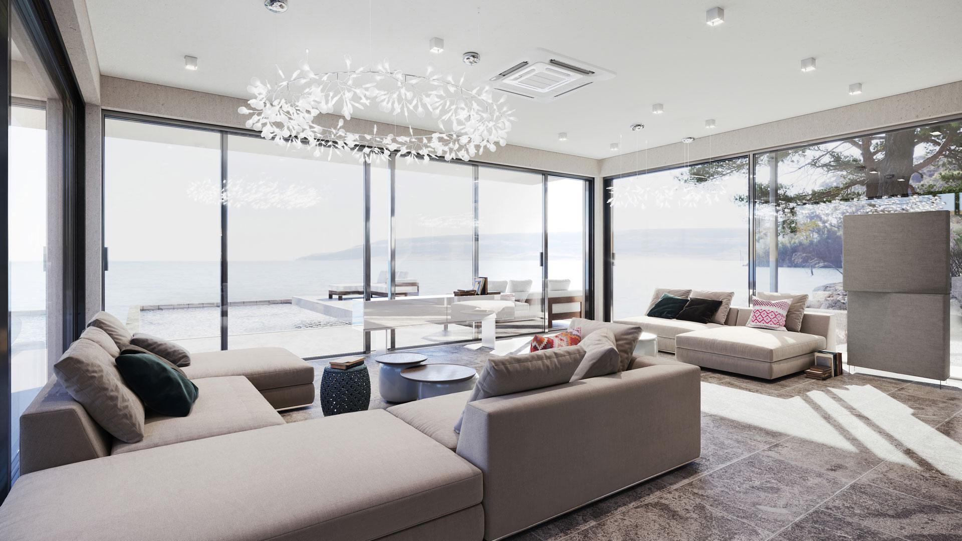Comfortable Living Room 3D Design Visualization