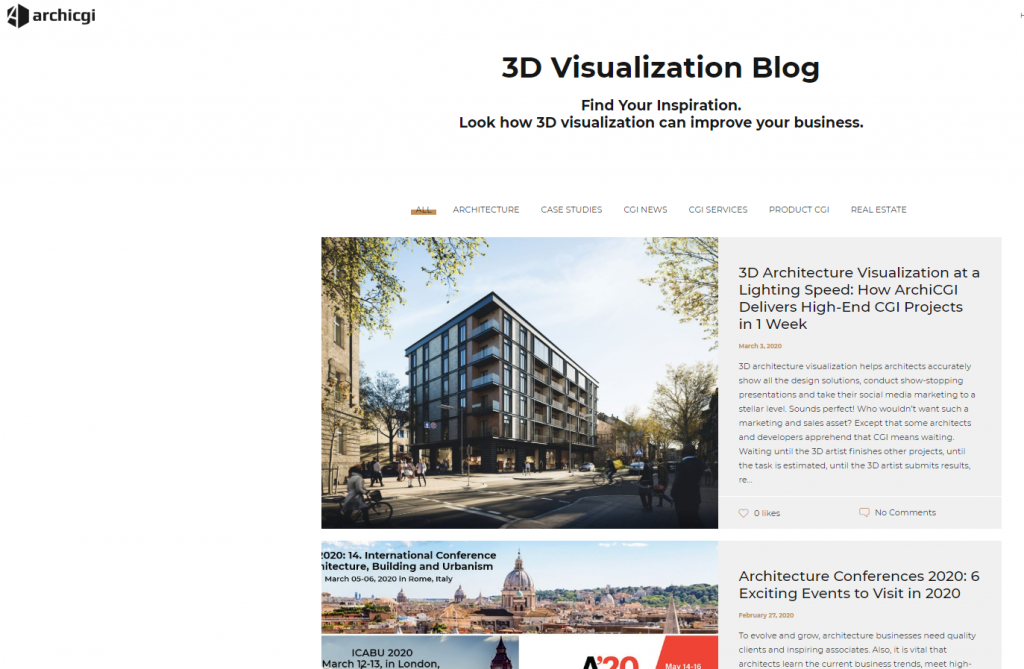3D Visualization Blog on ArchiCGI website