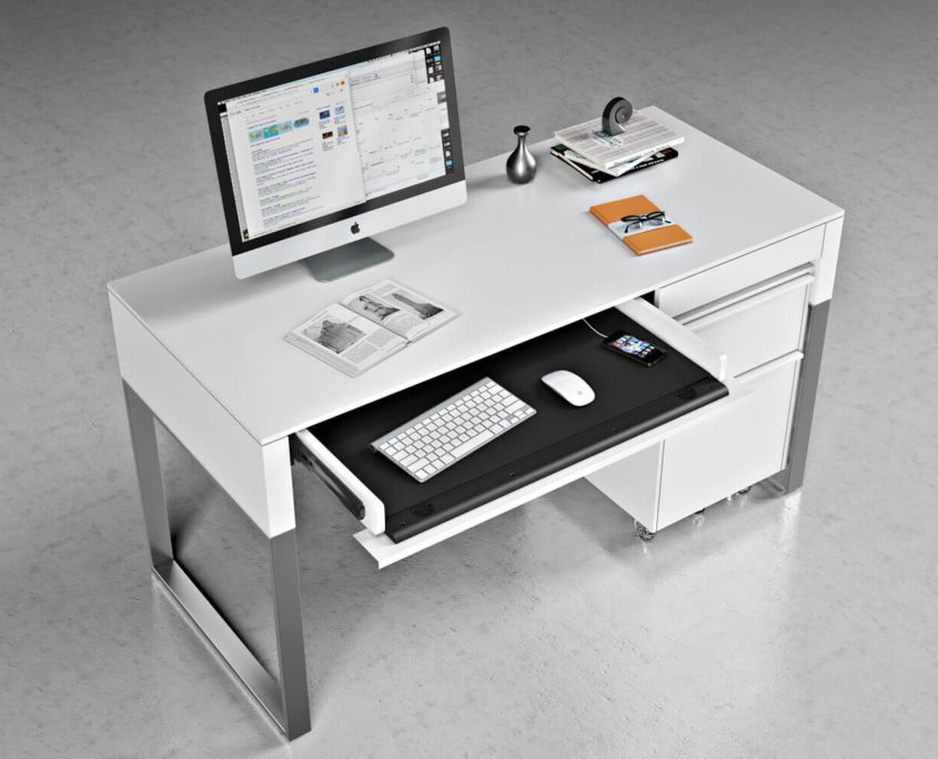 Stylish Desk On A Glossy White Floor. Ambiance For Furniture Photography And Visualization