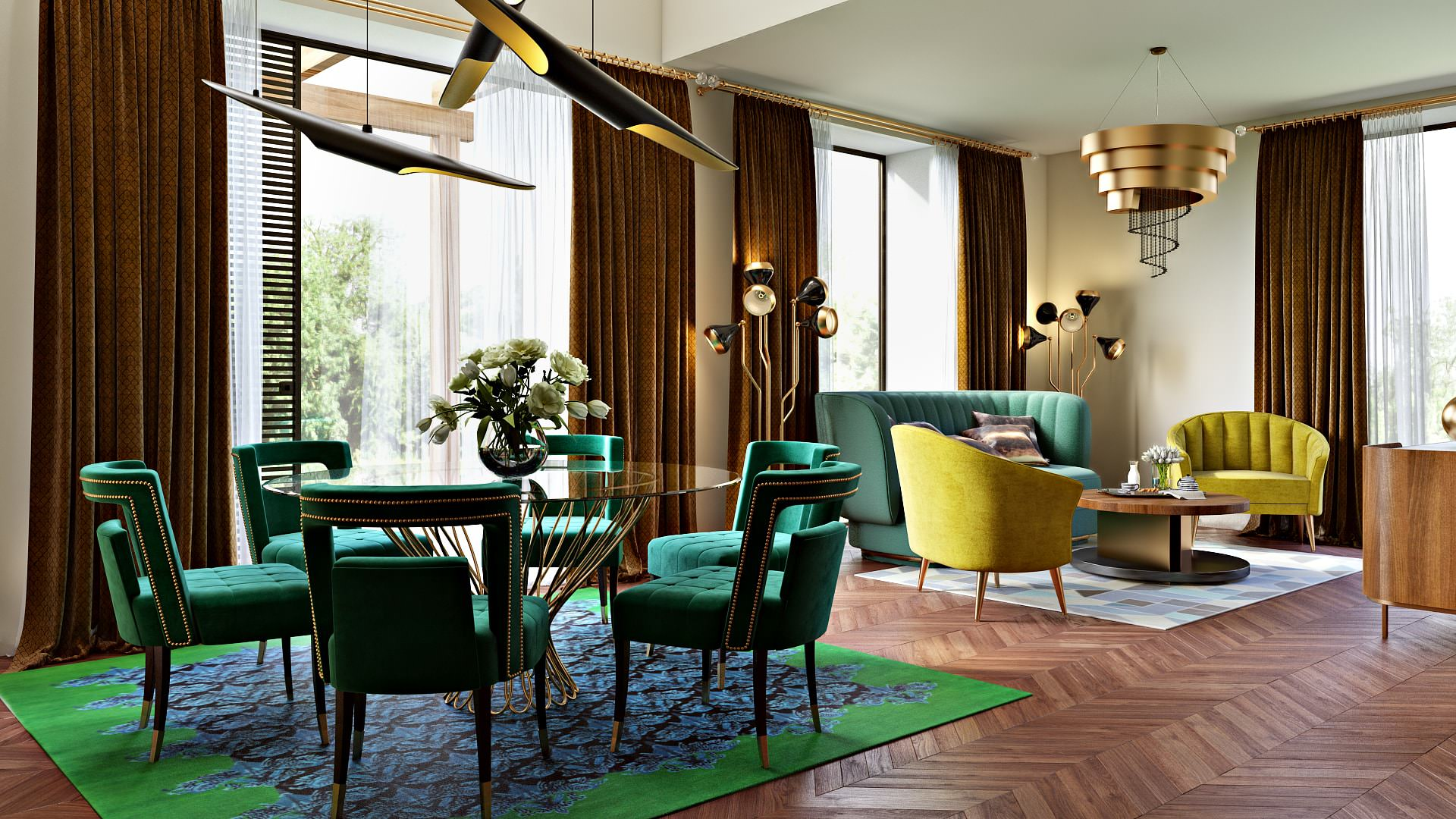 Photoreal Interior Design Renderings For Commercial Project With Green And Yellow
