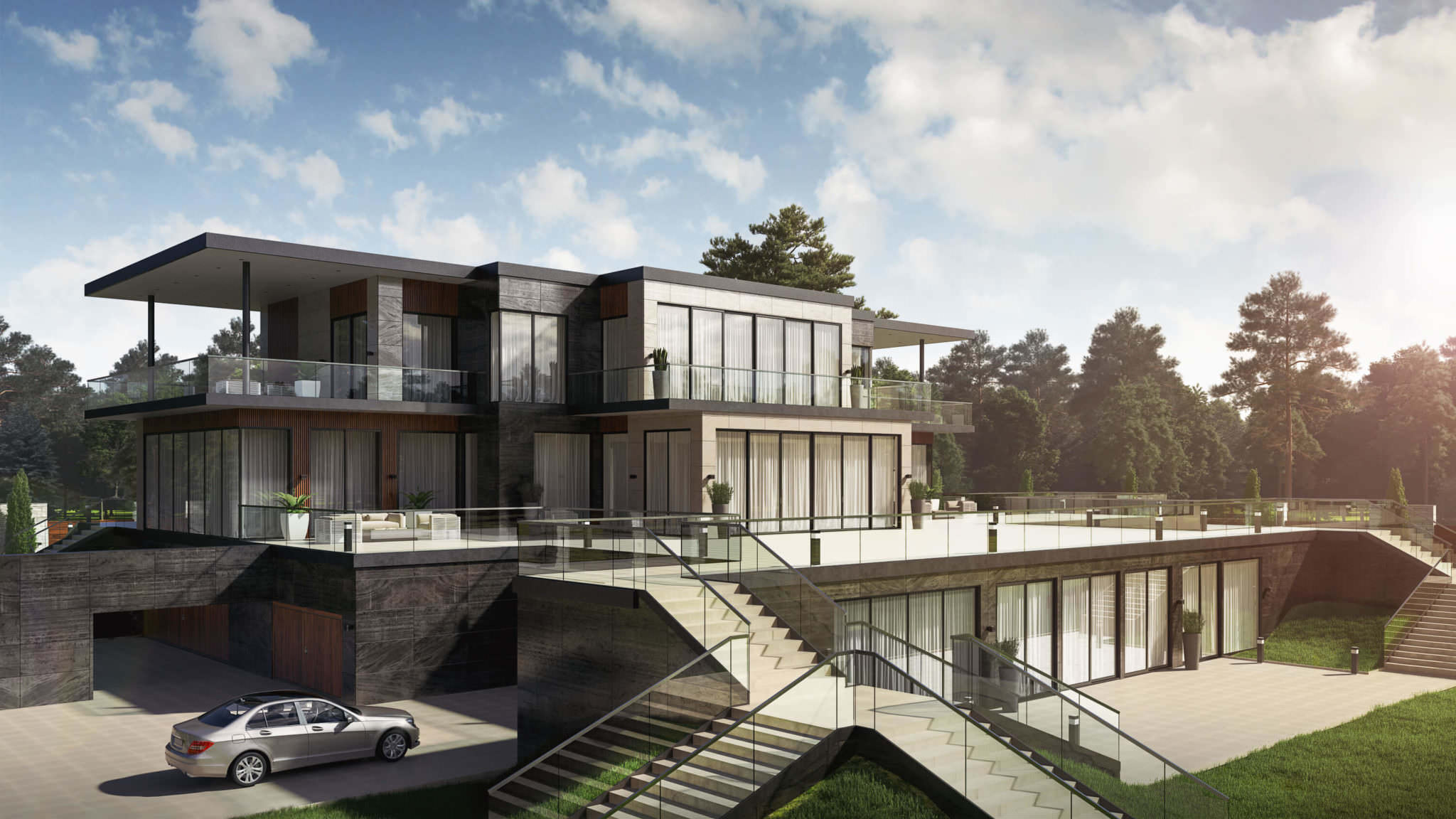 Professional Photoreal Rendering: Stunning House Design View01