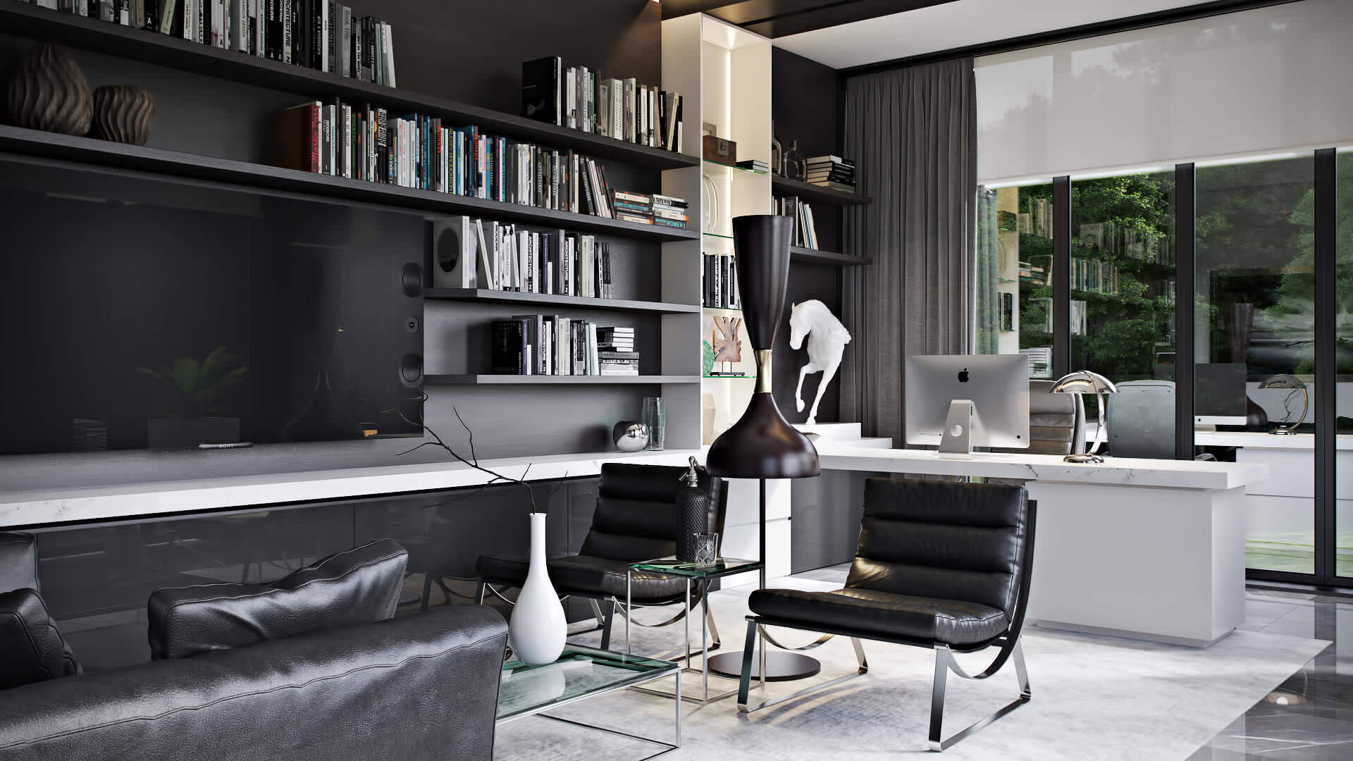 Professional Photoreal Rendering: Classy Home Office Design In Black View02