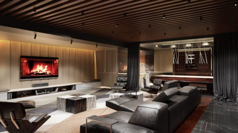 3D interior rendering living room