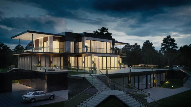 How CGI Artist Helps Present Architectural Project: House Design Render, Night View