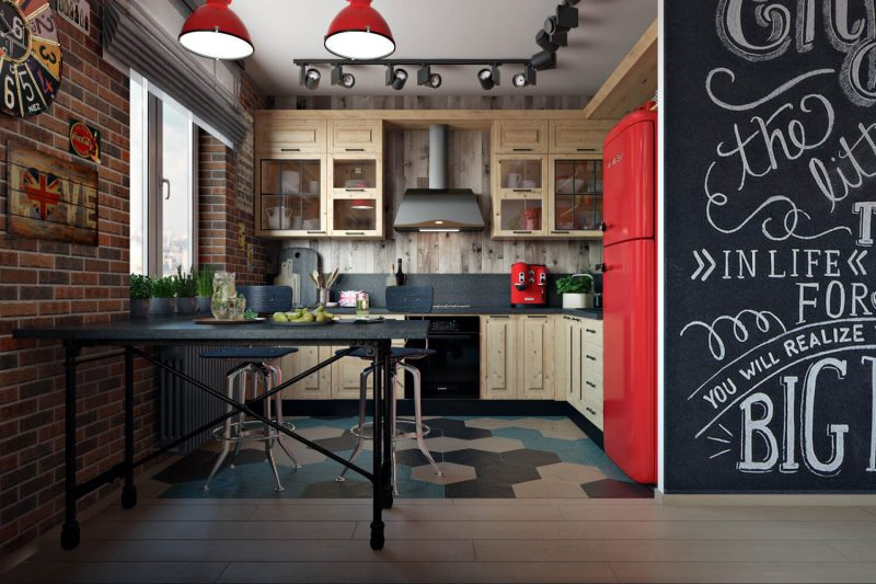 A Kitchen Interior Rendered for Marketing in Architecture