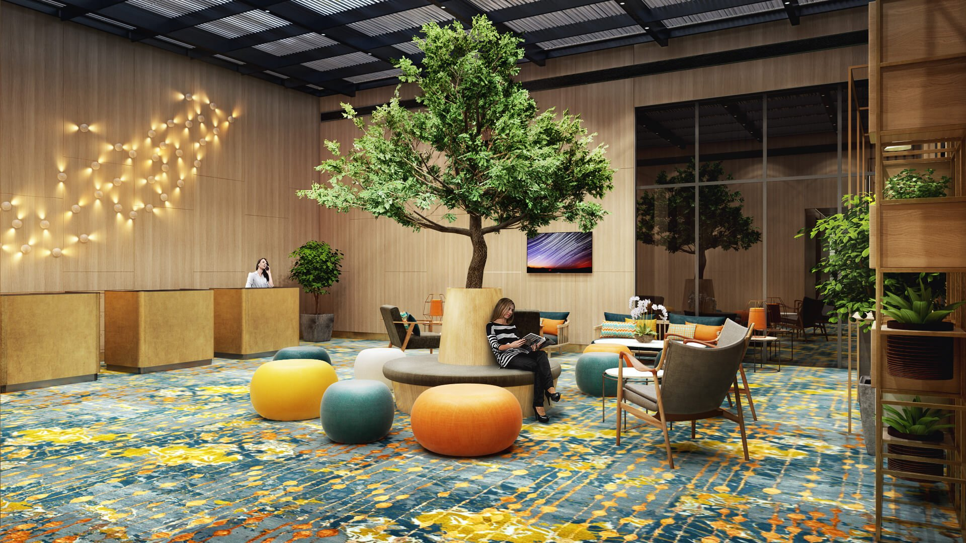 3D Lobby Interior Rendering for Email Marketing