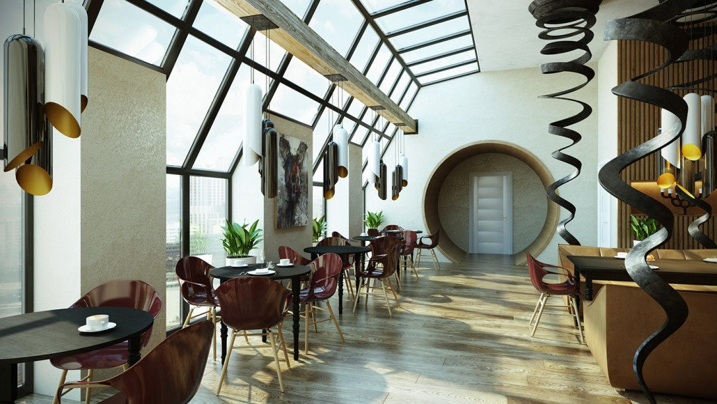 Photorealistic 3D Max Architectural Rendering For A Restaurant Design Presentation View05