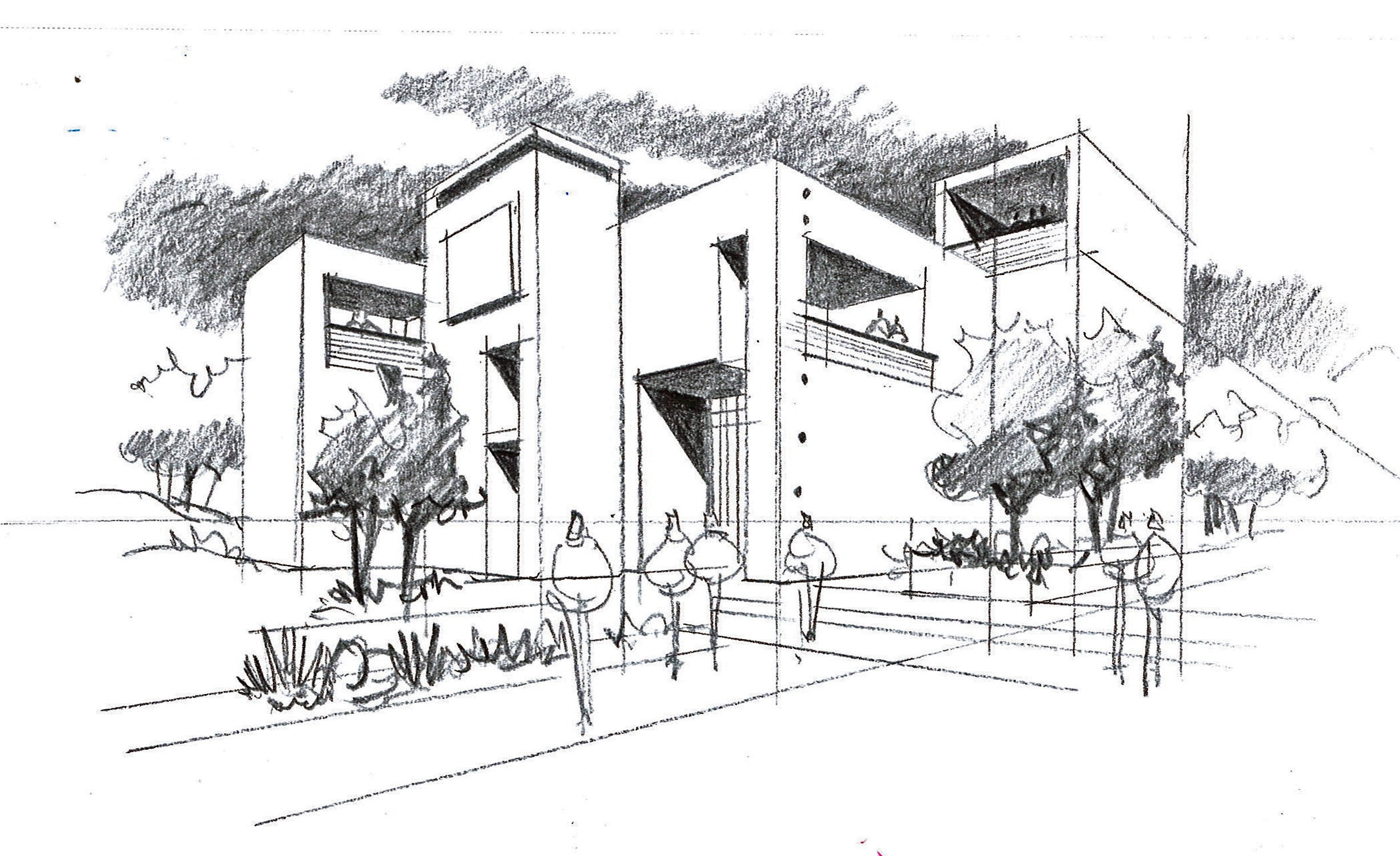 Reference Architectural Sketch for Exterior Renderings