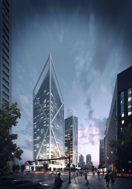 High-Quality Exterior 3D Visualization for a Skyscraper