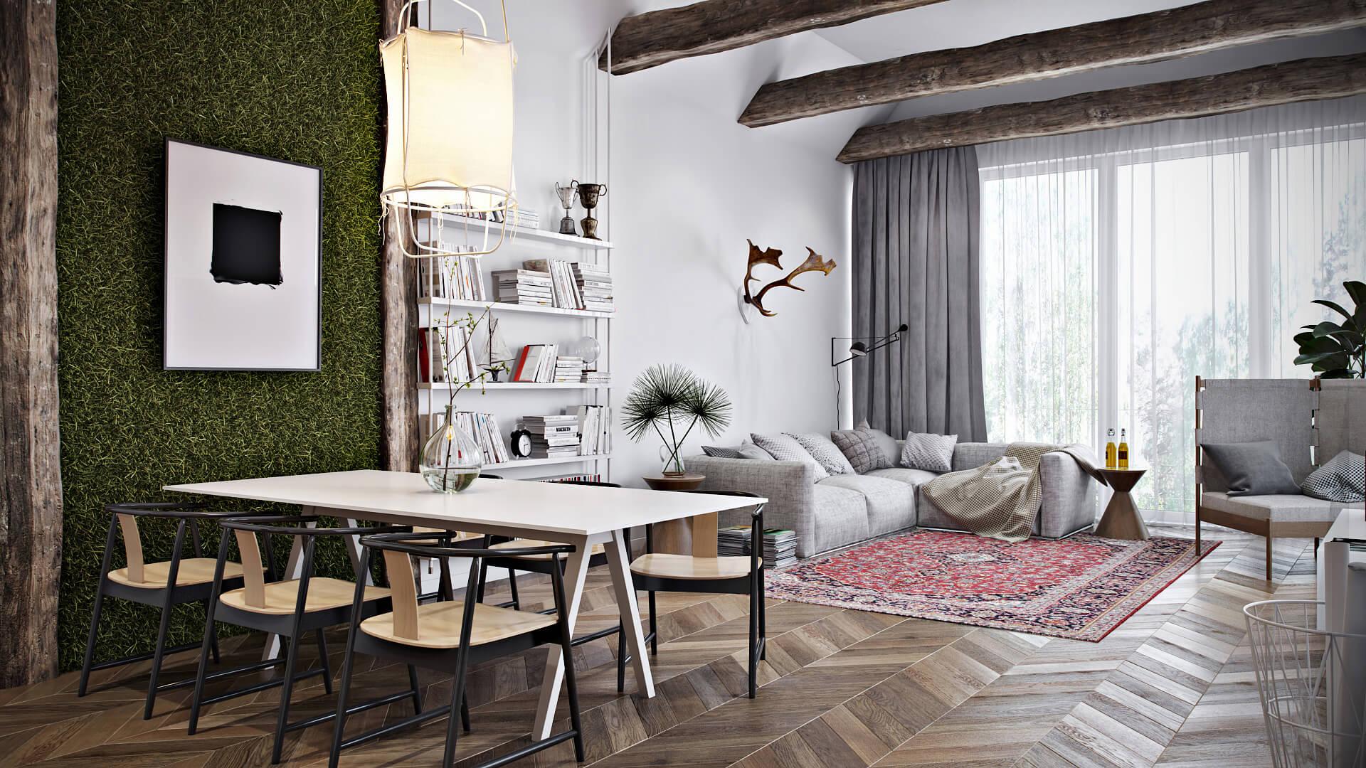 Realistic 3D Interior Living Room Rendering