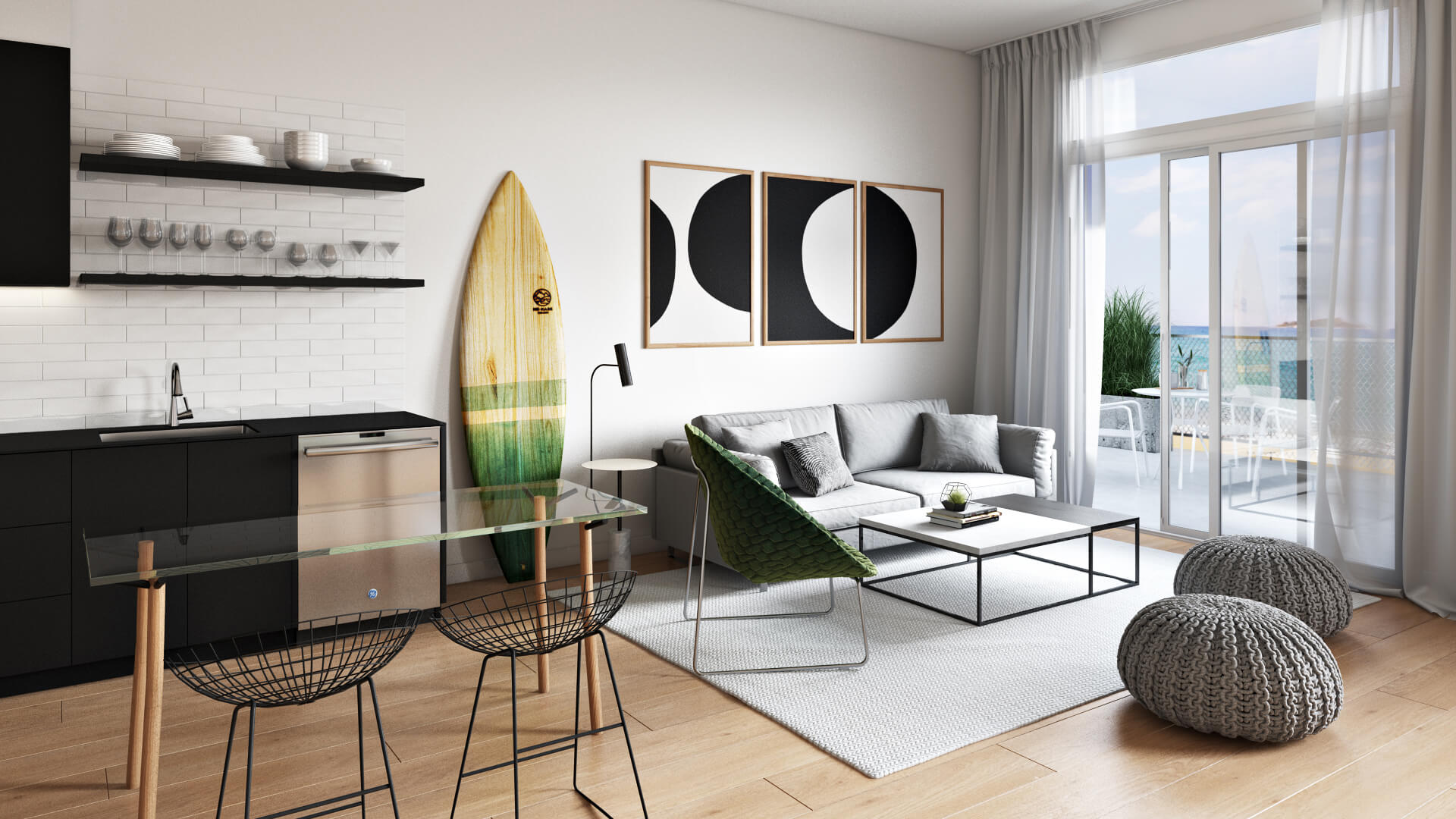 3D Rendering Of a Room With Minimalistic Interior
