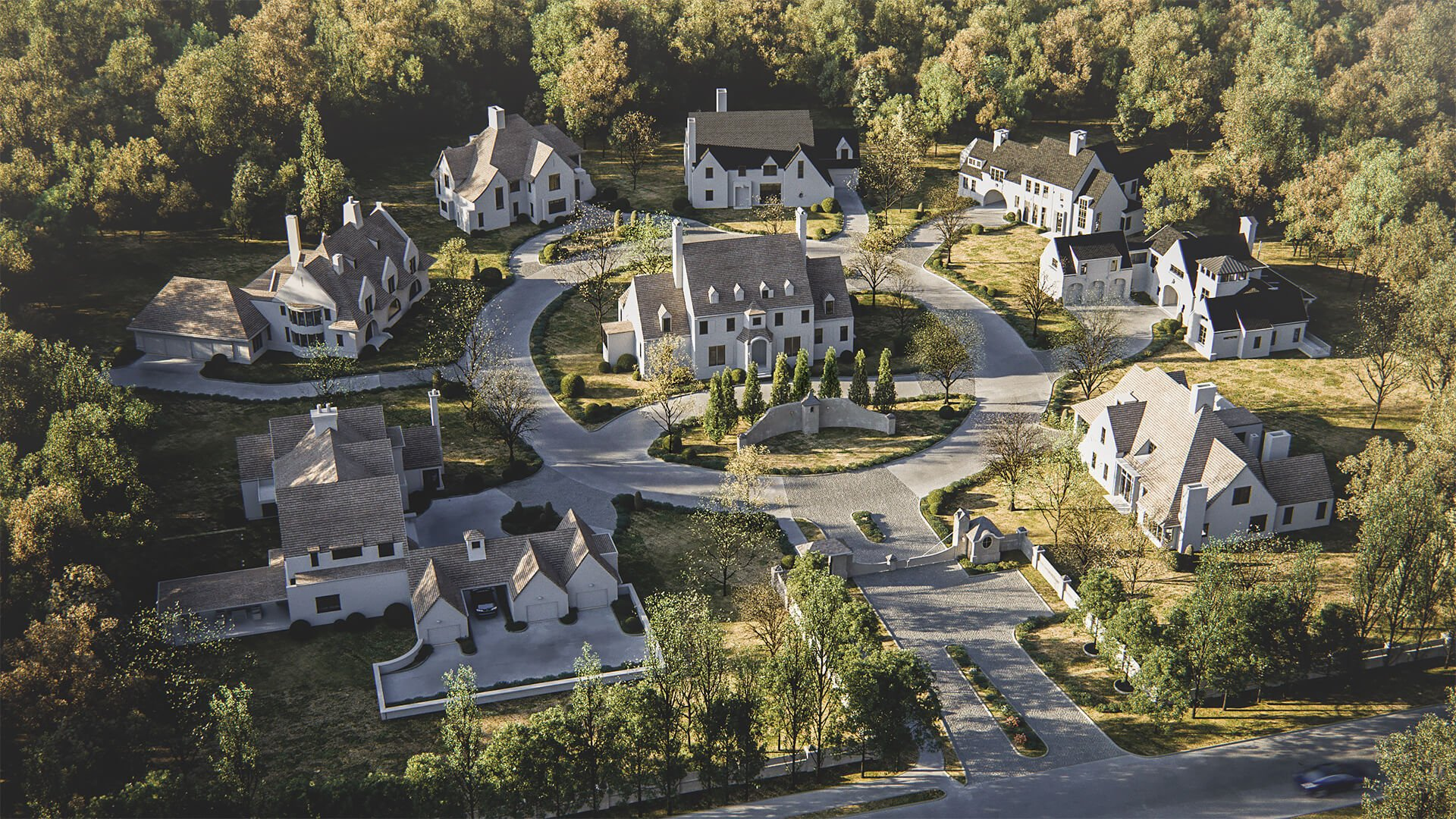 Exterior CG Render Featuring Beautiful Rural Area with Country Houses