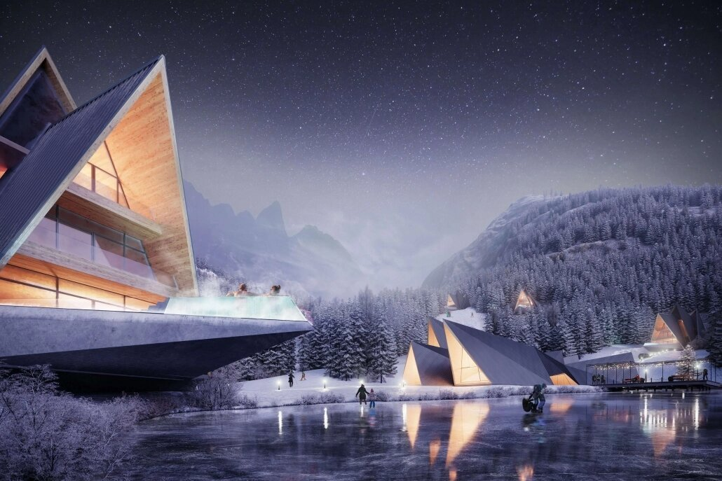 3D Printing For Hotel Placed in a Winter Landscape
