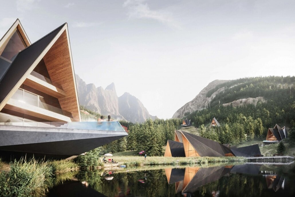 3D Render of a Hotel by a Lake