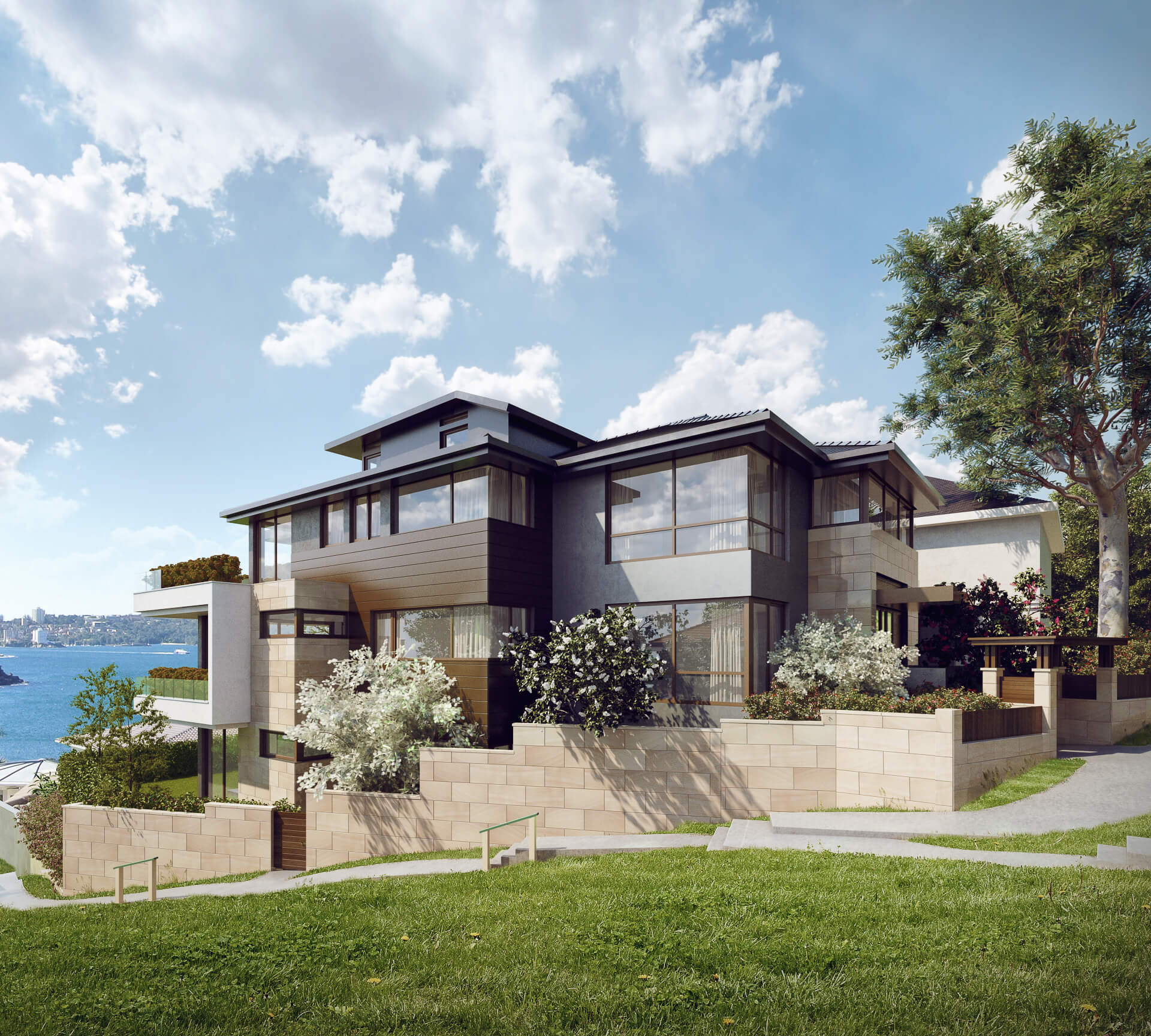 A Residential House Rendering for Real Estate Marketing