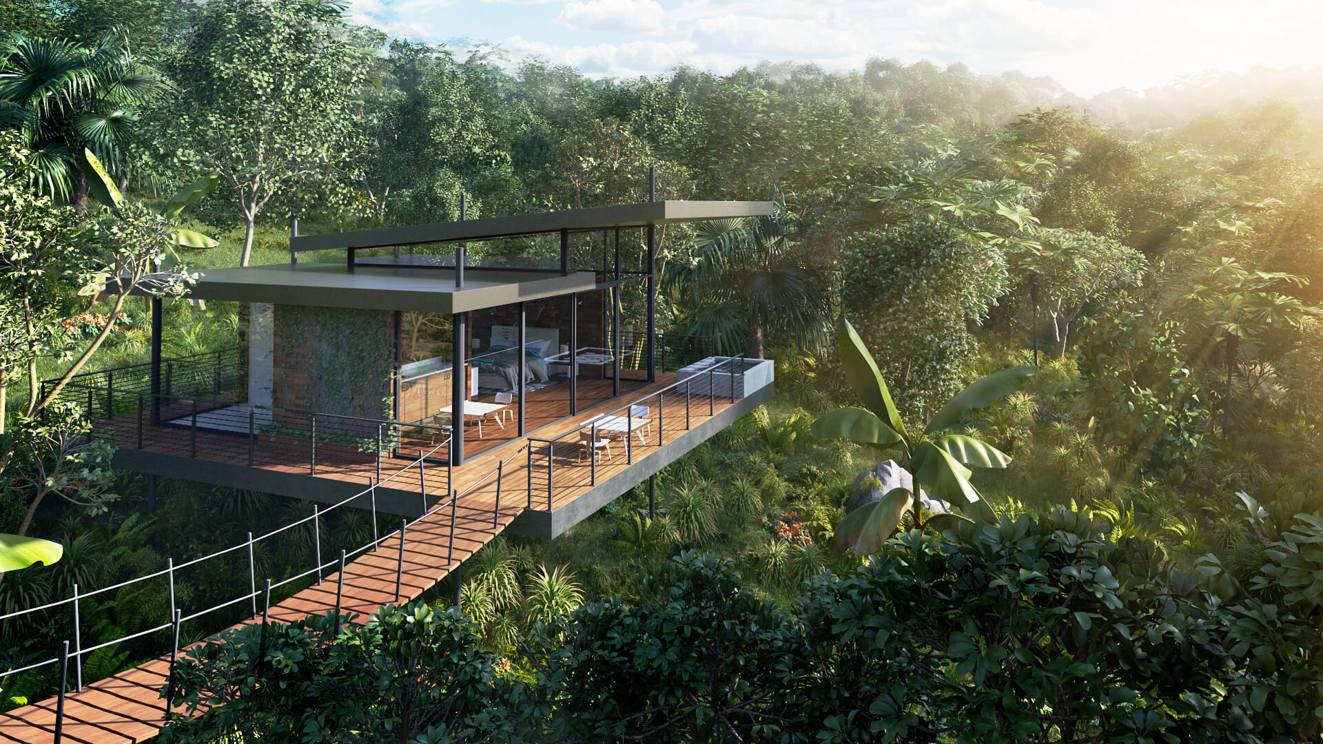 3D Commercial Rendering Of A Tropical Hotel