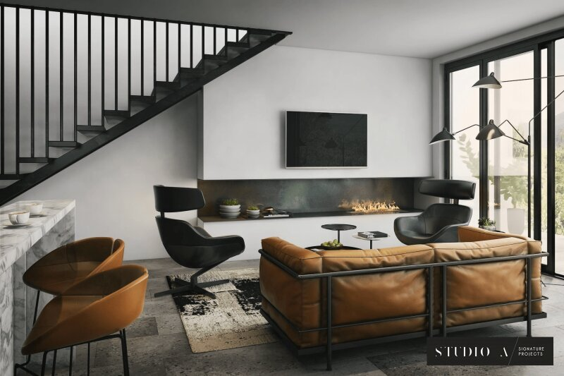 3D Rendering of a Stylish Modern Living Room