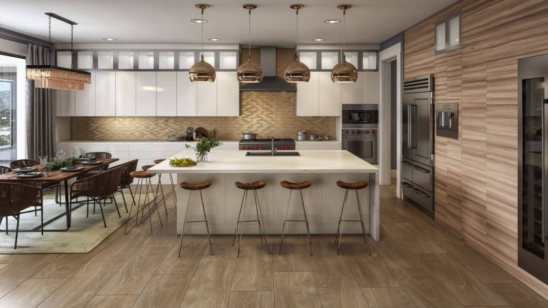 3D Rendering of a Contemporary Kitchen Design