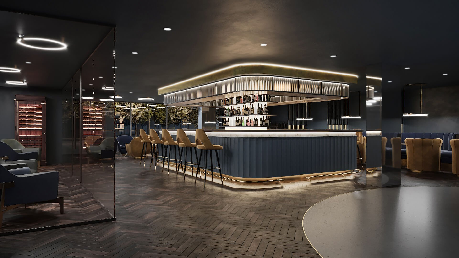 3D Commercial Rendering Of A Modern Bar