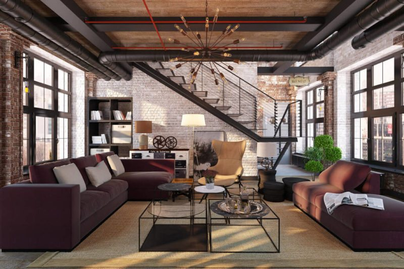 Using 3D design tools to convince the Client :Loft Design with Burgundy Accents