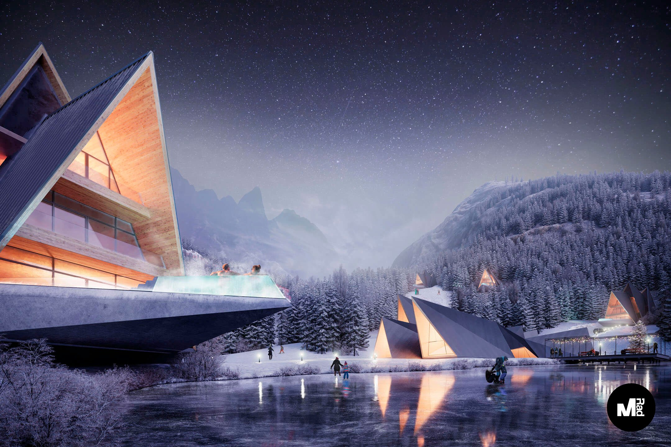 Photoreal Exterior Visualization for a Resort in Winter