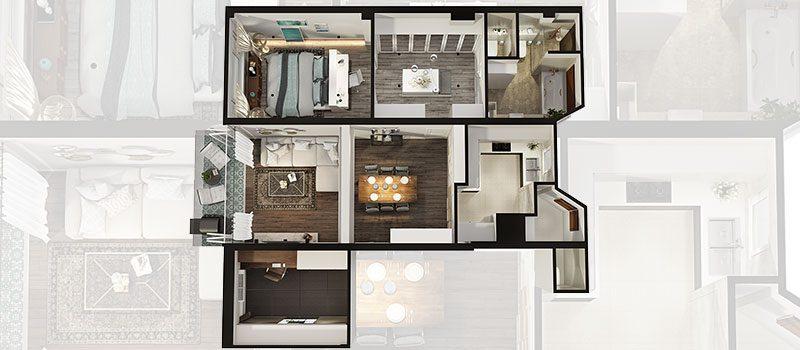 A Roomy Dwelling in a Floor Plan Rendering
