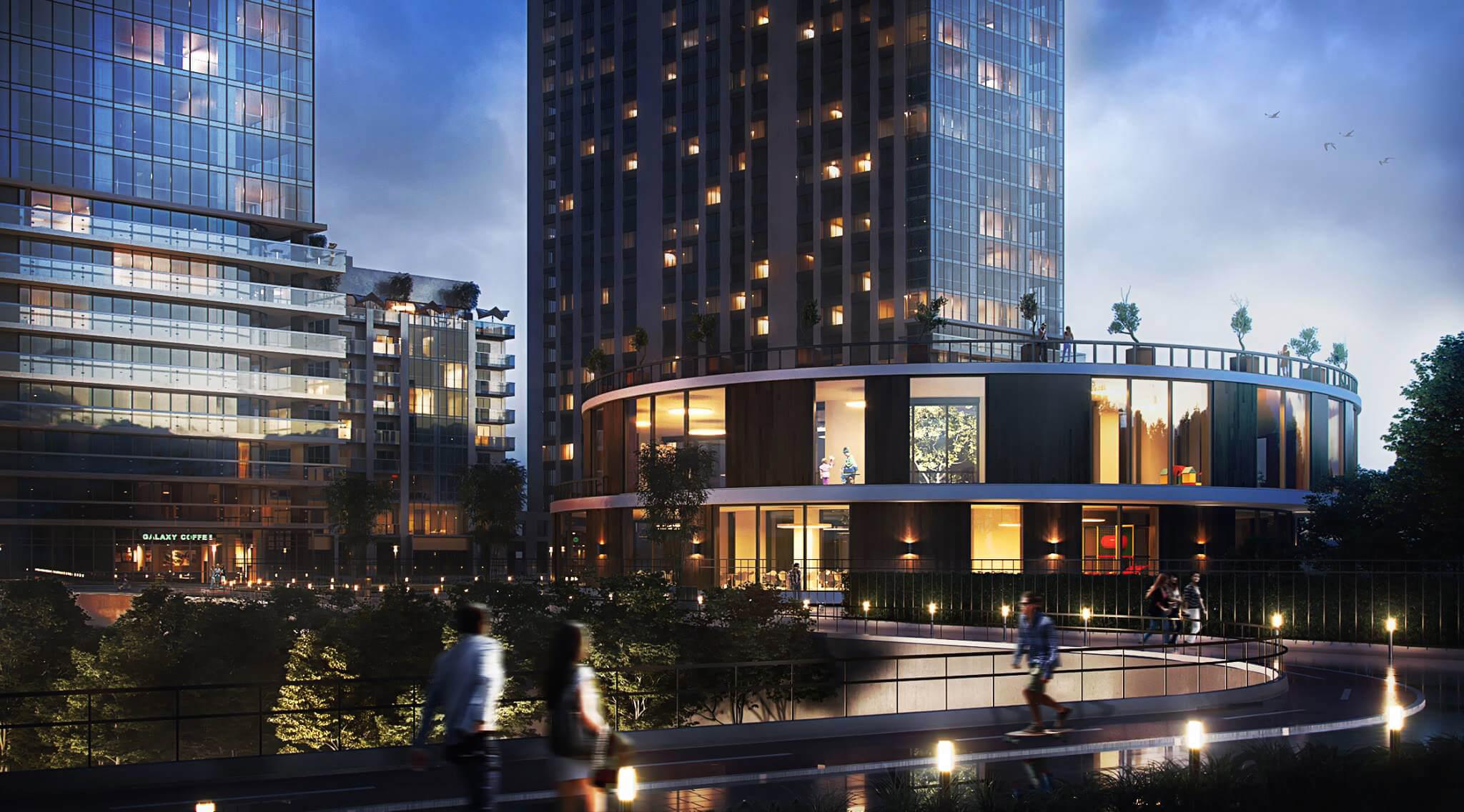 Evening CGI View for a Business Center Design