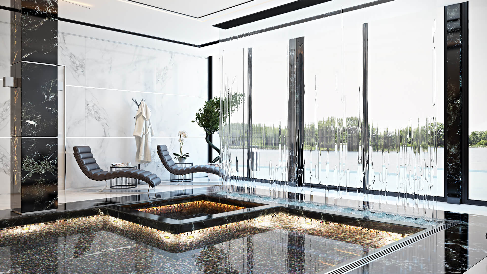 High-End 3D Interior Renderings For A Swimming Pool With A Relaxation Zone By Panoramic Windows View01