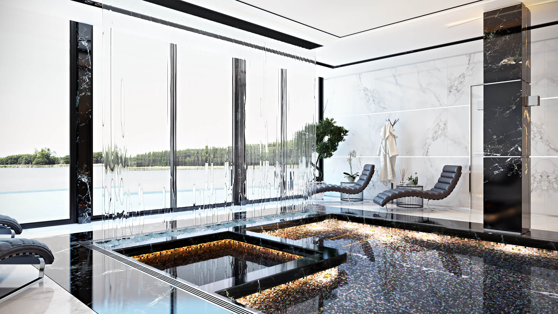 Quality Architecture Rendering For A Splendid Swimming Pool In Black And White Marble View02