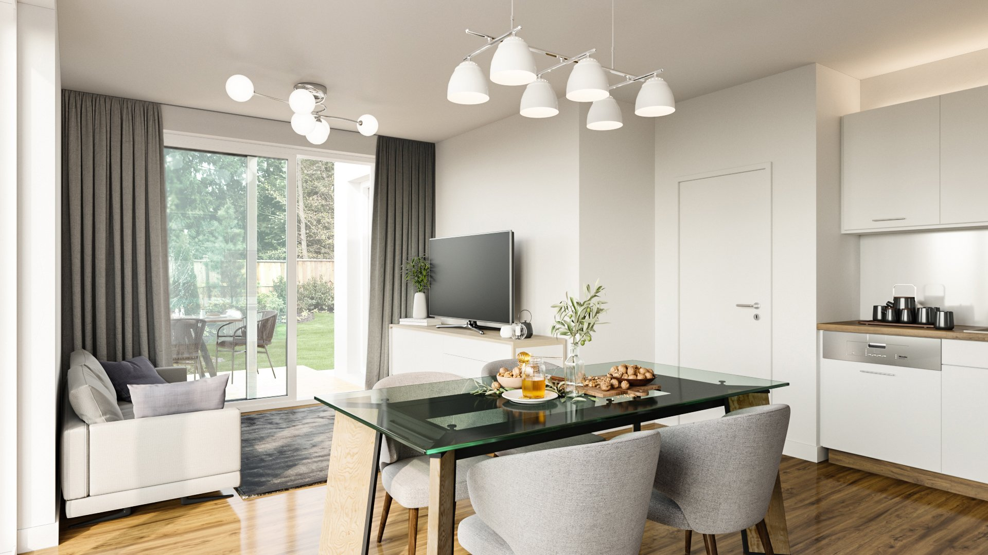 CG Image of a Living Room With Stylish Design