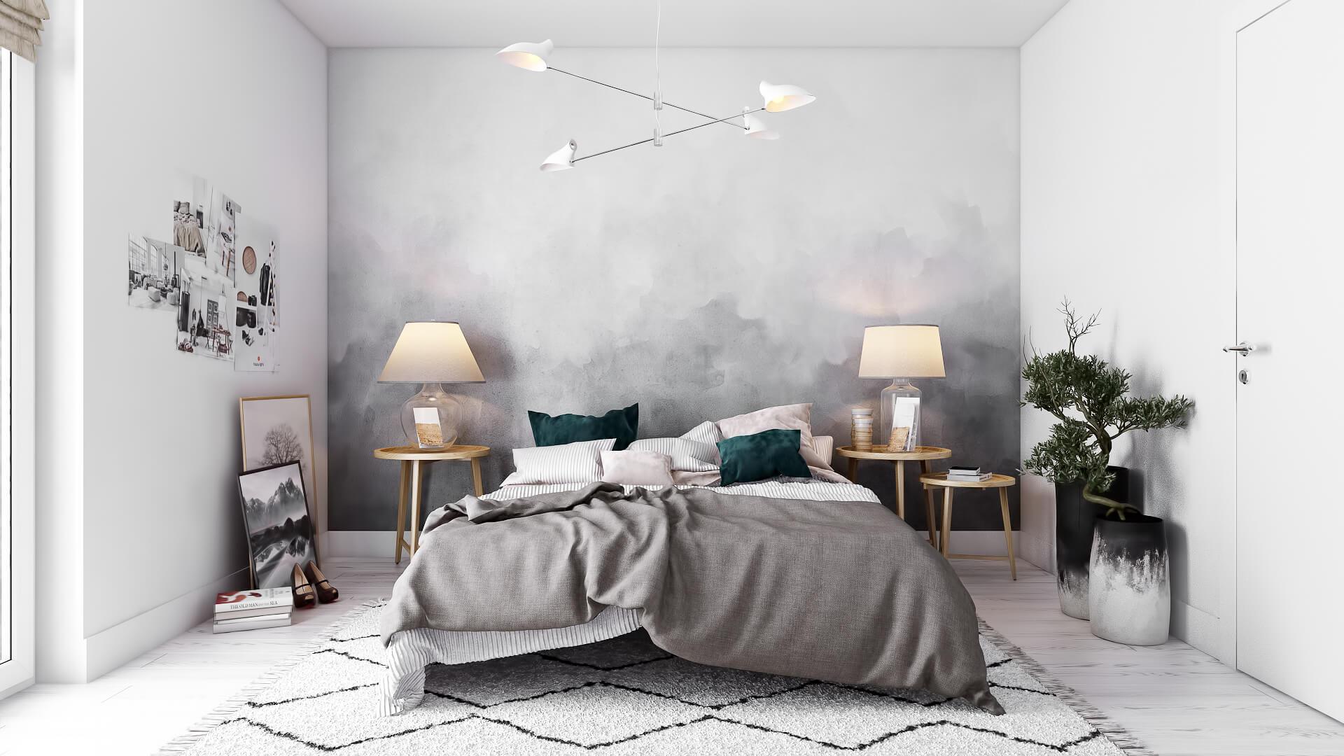 3D Rendering Of a Bedroom In Scandinavian Style