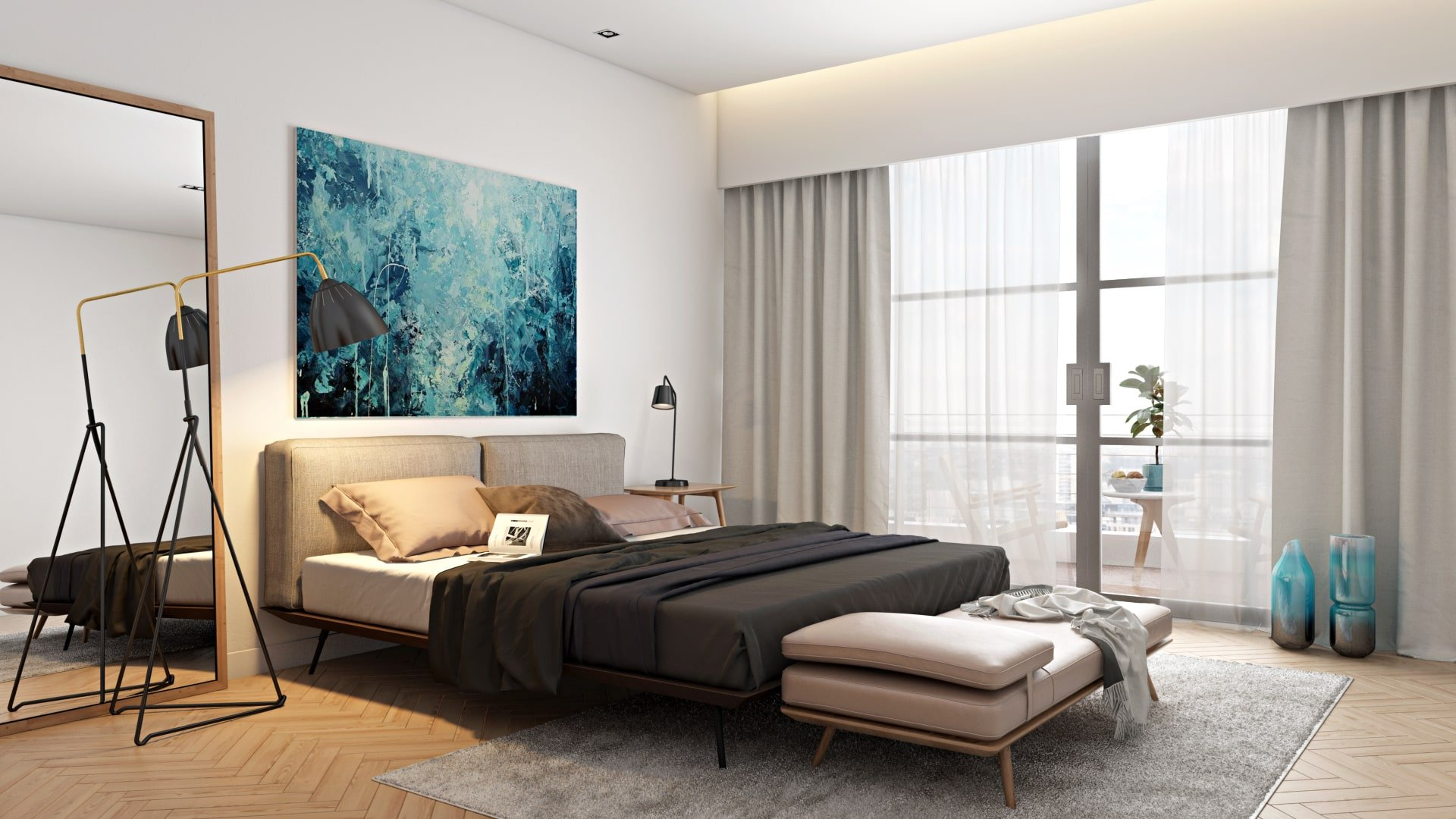 3D Visualization of an Elegant Bedroom