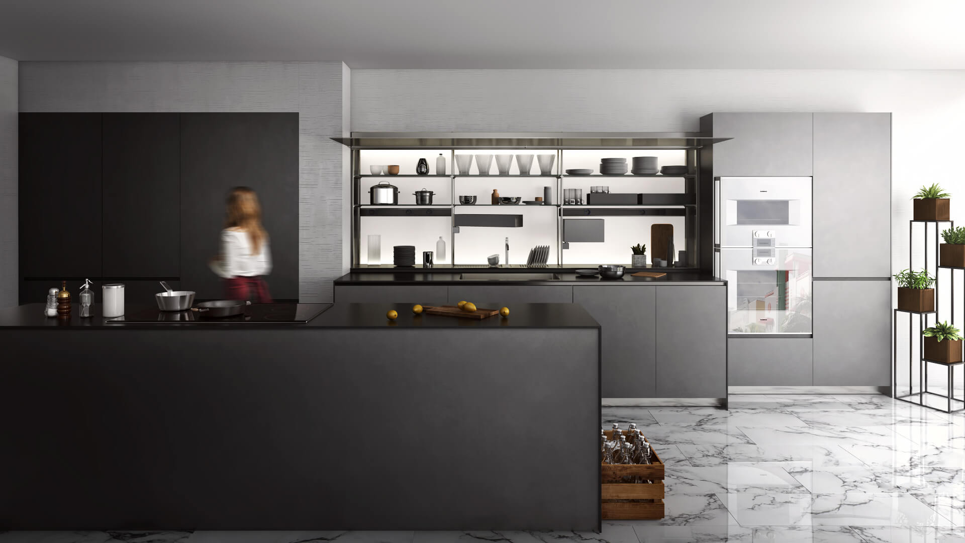 CGI of a Kitchen with Modern Design