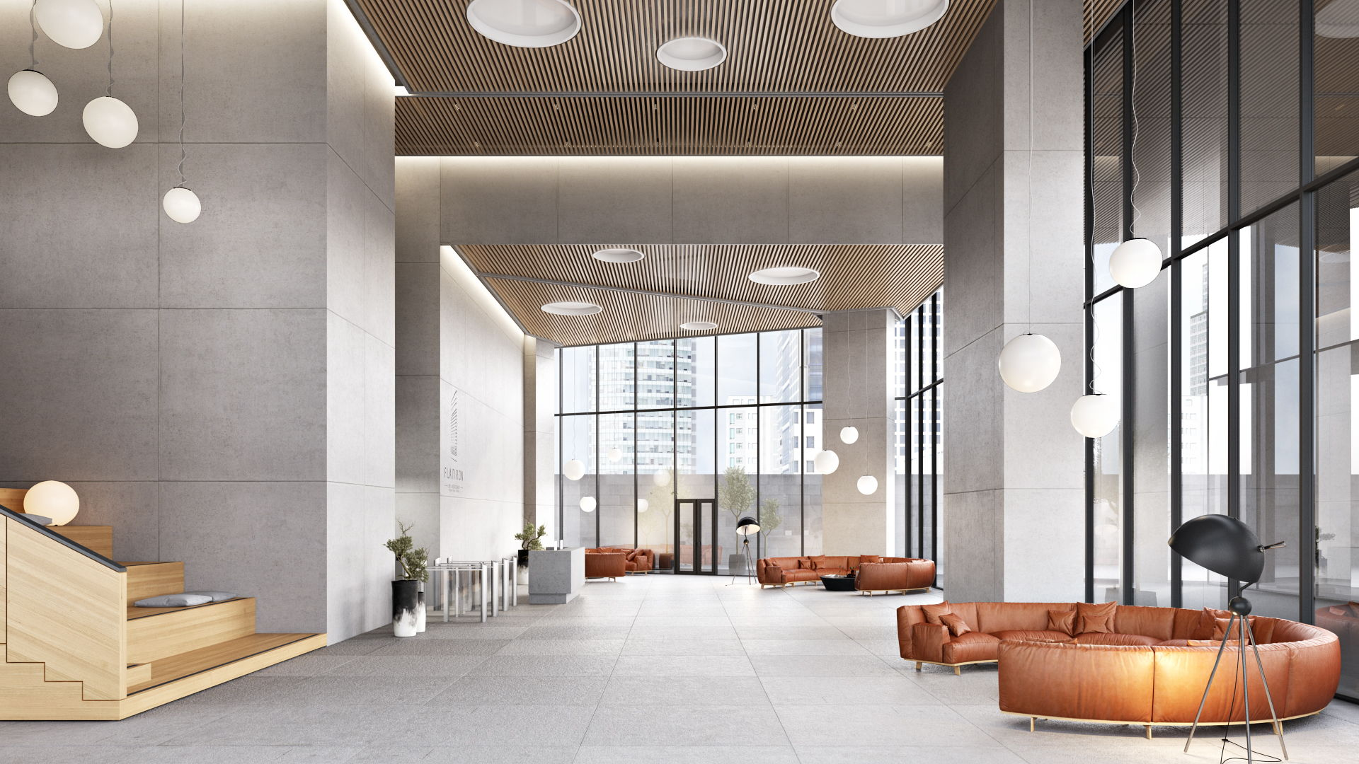 3D Rendering Of a Spacious Office Hall