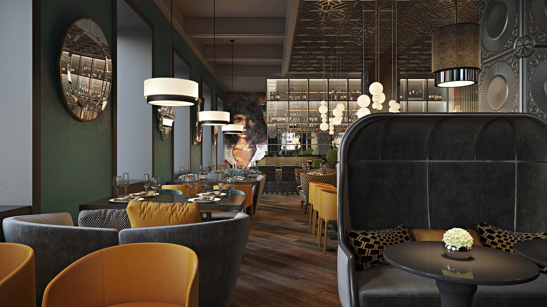 Photorealistic 3D Architectural Renderings To Highlight A Bright Restaurant Interior View24