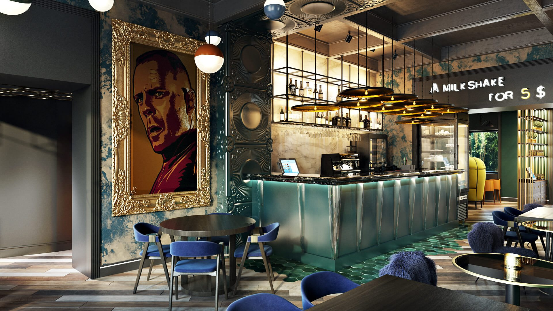 A Great 3D Rendering For Commercial Design: Portrait In A Gilded Frame