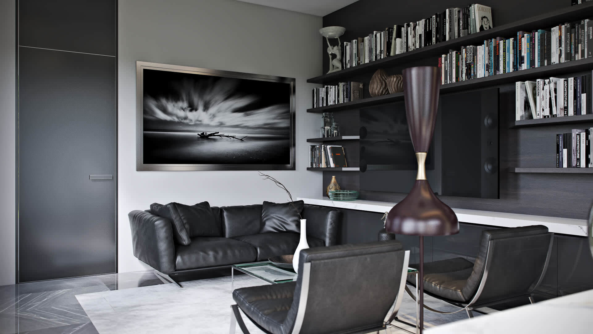 Splendid 3D Rendering Of A Home Office Interior Design View03