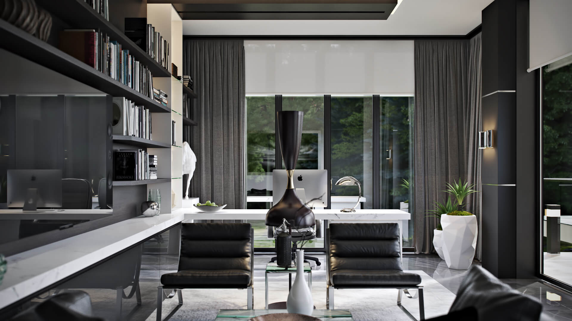 Splendid 3D Rendering Of A Home Office Interior Design View04