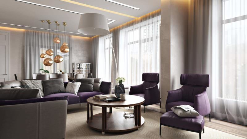 Impeccable Studio Digital Rendering: Purple Furniture Around The Table