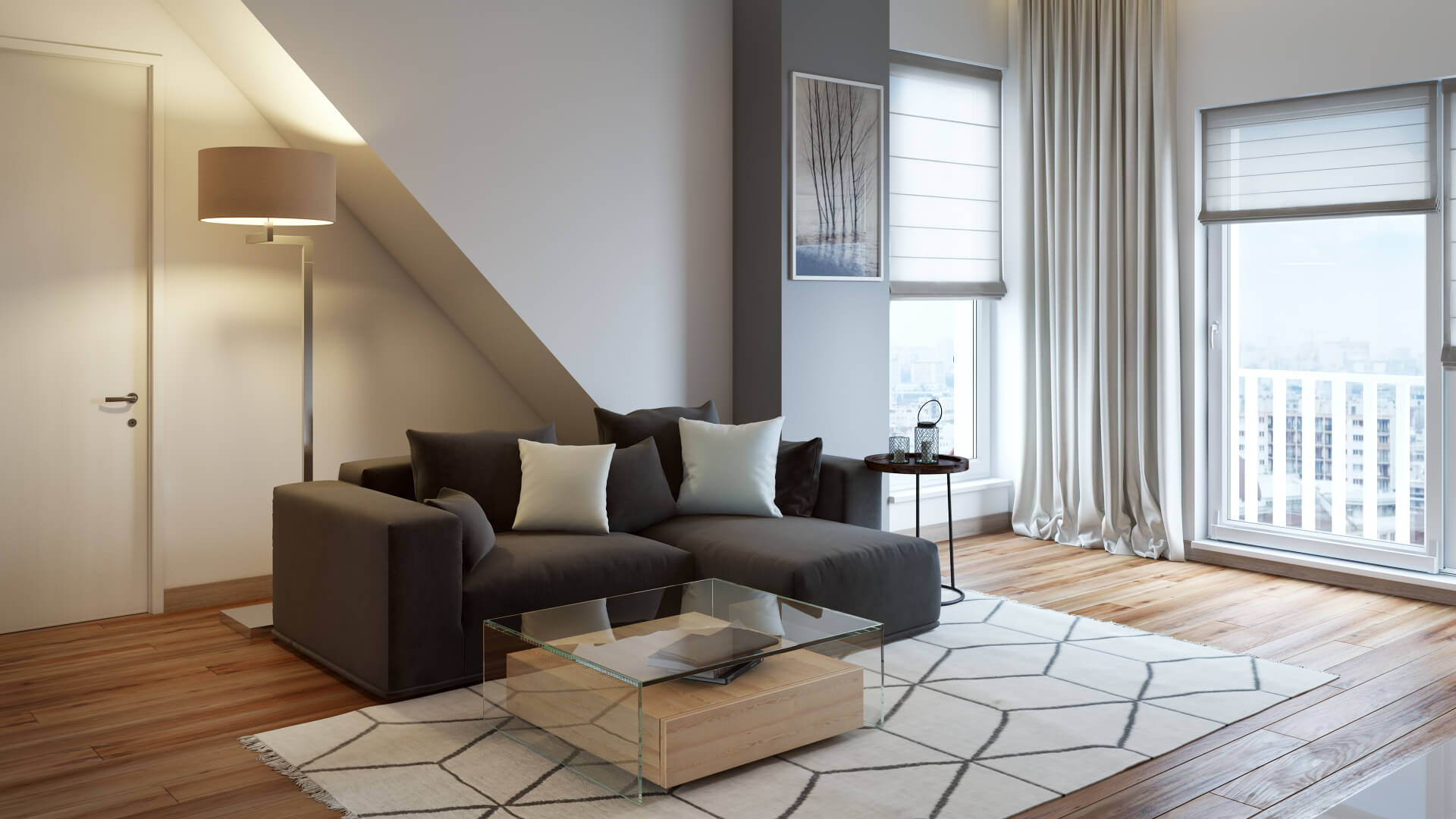 3D Visualization of a Stylish Contemporary Room