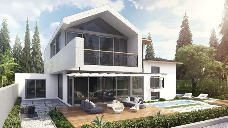 Amazing Architecture Rendering For A House Exterior In White