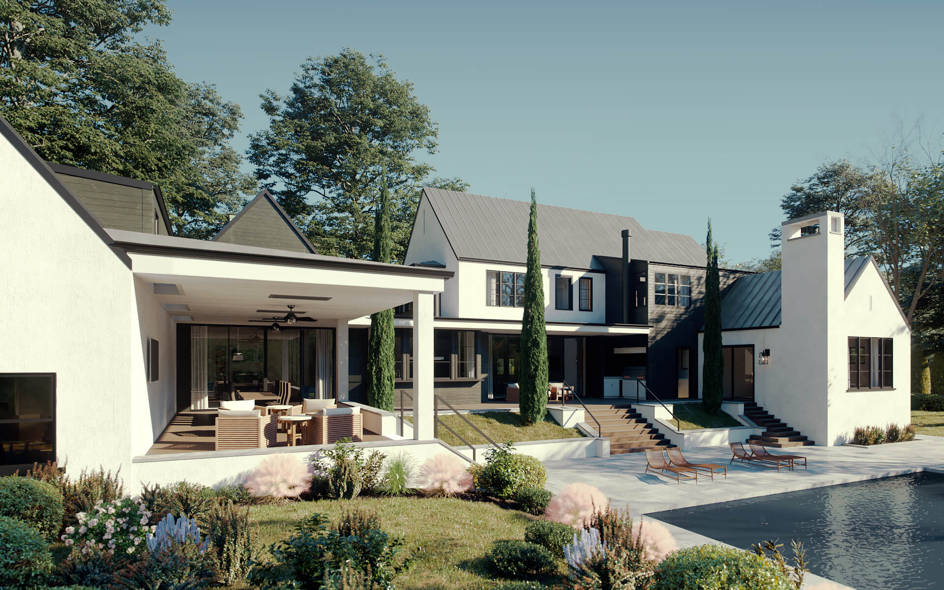 Exterior 3D Rendering Of a House With Pool