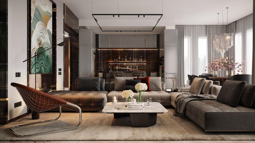 3D Interior Rendering Of a Stylish Room
