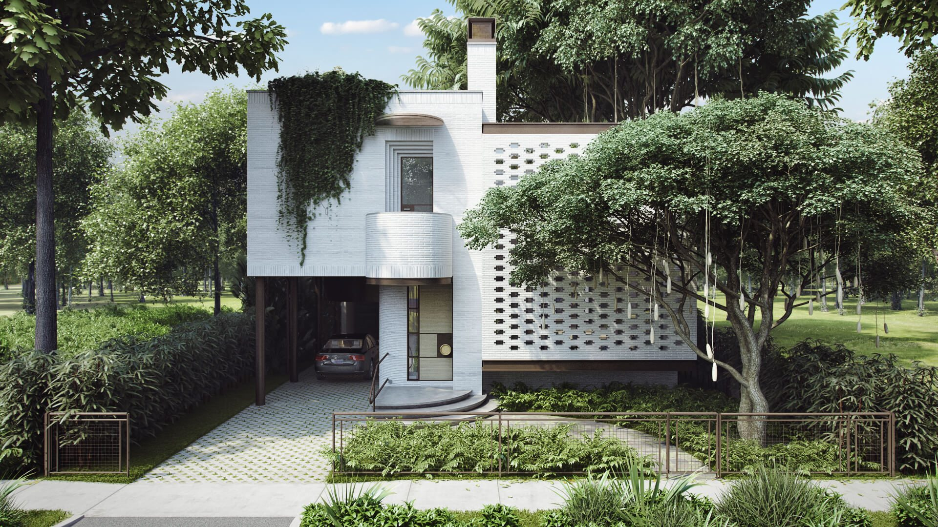 3D Rendering Of a House Surrounded By Greenery