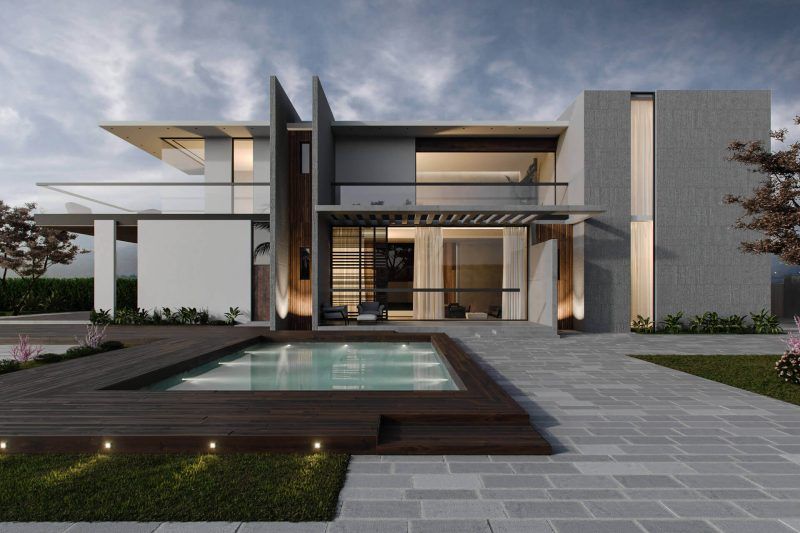 Corona Exterior Render for a Cozy Dwelling with a Swimming Pool