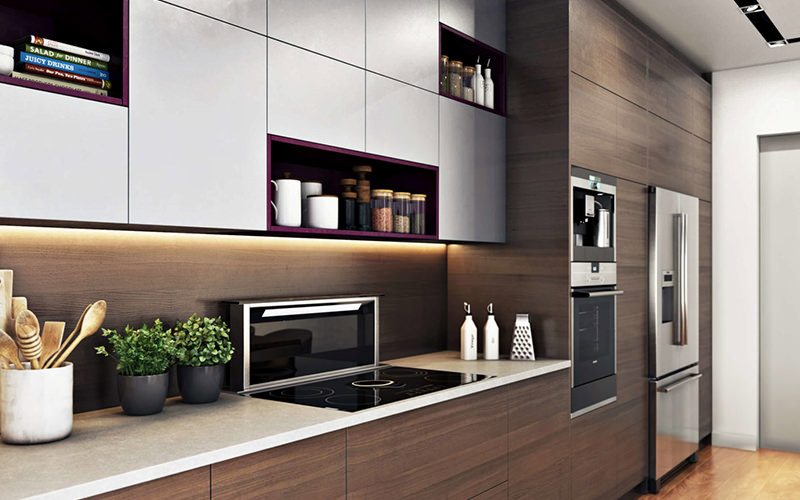 Smashingly Realistic Design 3D Rendering Highlighing A Kitchen Wooden Storage Wall